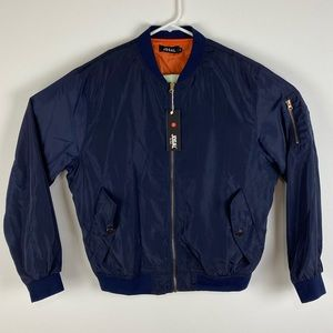 JOGAL navy blue nylon bomber windbreaker jacket M